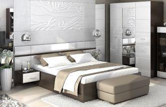 Ložnicová sestava VEGAS (postel 160, skříň, 2x noční stolek) wenge/bílá lesk
