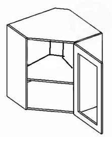 WR60W horní vitrína rohová NORA de LUX hruška čiré sklo
