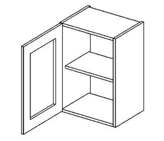W40WL horní vitrína jednodvéřová PREMIUM de LUX olše čiré sklo