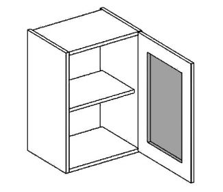W40WPMR horní vitrína jednodvéřová PREMIUM de LUX olše mraž. sklo