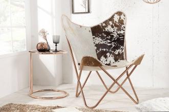 židlo-křeslo BUTTERFLY BROWN WHITE pravá kůže