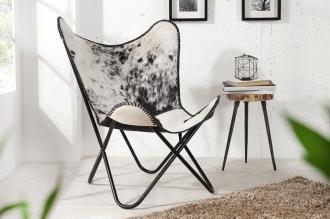 židlo-křeslo BUTTERFLY BLACK WHITE pravá kůže
