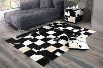 luxusní koberec RODEO BLACK WHITE pravá kožešina