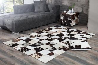 luxusní koberec RODEO BROWN WHITE pravá kožešina