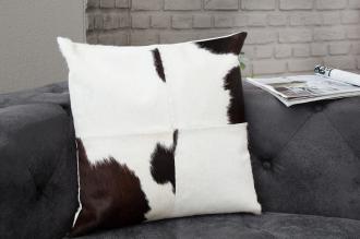 luxusní polštářek RODEO BLACK WHITE pravá kožešina