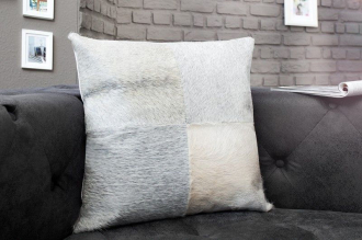 luxusní polštářek RODEO GREY WHITE pravá kožešina
