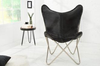židlo-křeslo BUTTERFLY BLACK pravá kůže
