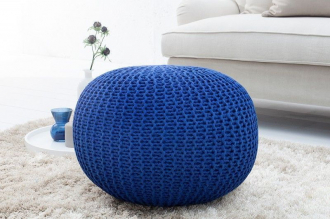 pletený puff LEEDS 50 BLUE