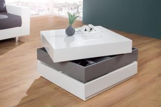 konferenční stolek MULTILEVEL WHITE GREY rozkládací