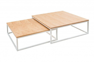 2SET konferenční stolek FUSION NATURE WHITE