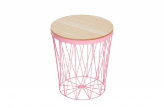Odkládací stolek STORAGE PINK dubová dýha