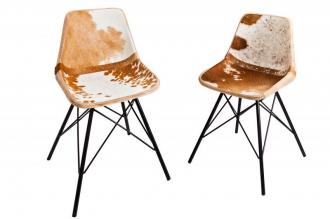 židle TORO BROWN WHITE pravá kůže
