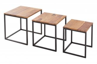 3SET konferenční-odkládací stolek FUSION masiv sheesham