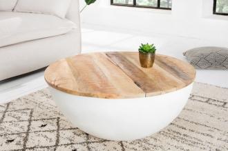 konferenční stolek INDUSTRIAL WHITE 70-R masiv mango