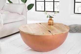 konferenční stolek INDUSTRIAL COPPER 70-R masiv mango