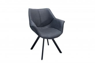 Židlo-křeslo DUTCH RETRO antik šedé mikrovlákno