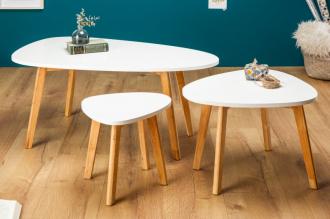 3SET konferenční-odkládací stolky SCANDINAVIA WHITE TRIO