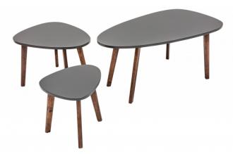 3SET konferenční-odkládací stolky SCANDINAVIA GREY TRIO