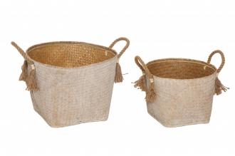 2SET skladové košíky BAMBOO bílé