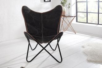 židlo-křeslo BUTTERFLY BLACK lněné vlákno