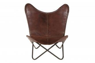 Židlo-křeslo BUTTERFLY BROWN II pravá kůže