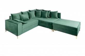 Rohová sedačka LOFT 220 CM zelená s taburetem