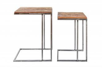2SET odkládací stolek BARRACUDA 45/35 CM masiv recyklované dřevo