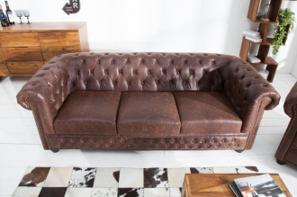 Pohovka CHESTERFIELD VINTAGE BROWN 200 CM