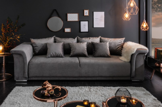 Luxusní pohovka BELLA GREY 270 CM rozkládací s úložným prostorem