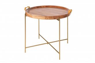 Konferenční-odkládací stolek MONSOON 55 CM GOLD masiv akácie