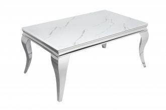 Konferenční stolek MODERN BAROCCO 100 CM SILVER mramorový vzhled
