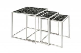 3SET konferenční-odkládací stolek ELEMENTS BLACK skleněný mramor