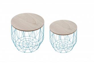 2SET Odkládací stolek STORAGE BLUE dubová dýha