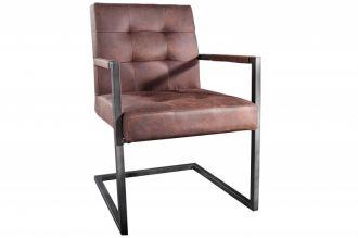 Konzolová židle RODEN vintage hnědá s područkami
