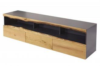 Televizní stolek WILD OAK 180 CM šedý masiv dub