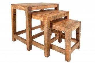 3SET odkládací stolek FINCA NATUR 45 CM masiv mango