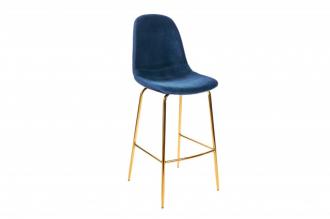 Barová židle SCANDINAVIA tmavě modrá samet