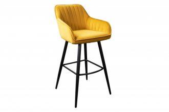 Barová židle TURIN tmavě žlutá samet