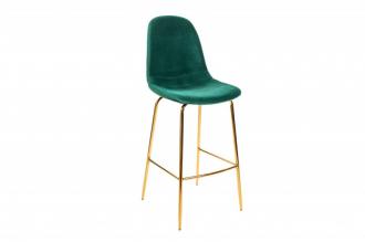 Barová židle SCANDINAVIA tmavě zelená samet