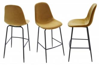 Barová židle SCANDINAVIA tmavě žlutá samet