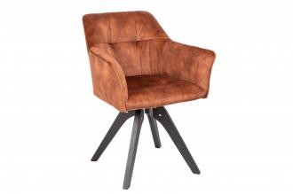 Jídelní židle LOFT hnědá samet otočná