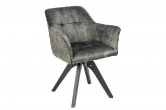 Jídelní židle LOFT zelená samet otočná