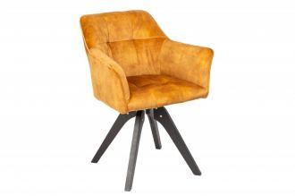 Jídelní židle LOFT tmavě žlutá samet otočná