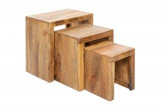 3SET odkládací stolek MAKASSAR 45 CM masiv mango