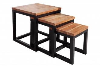 3SET odkládací stolek ELEMENTS 45 CM masiv akácie