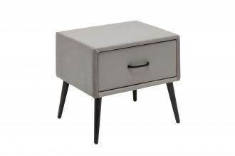 Noční stolek FAMOUS 42 CM stříbrno-šedý samet