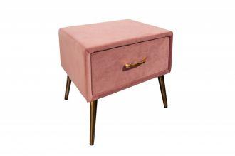 Noční stolek FAMOUS 42 CM tmavě růžový samet