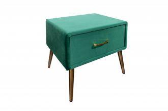 Noční stolek FAMOUS 42 CM smaragdově zelený samet