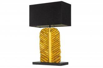 Stolní lampa LEAF 63 CM černo-zlatá masiv longanské dřevo