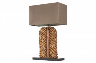 Stolní lampa LEAF 63 CM hnědá masiv longanské dřevo